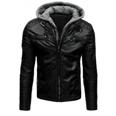 527429cec302 Pánska bunda koženka čierna