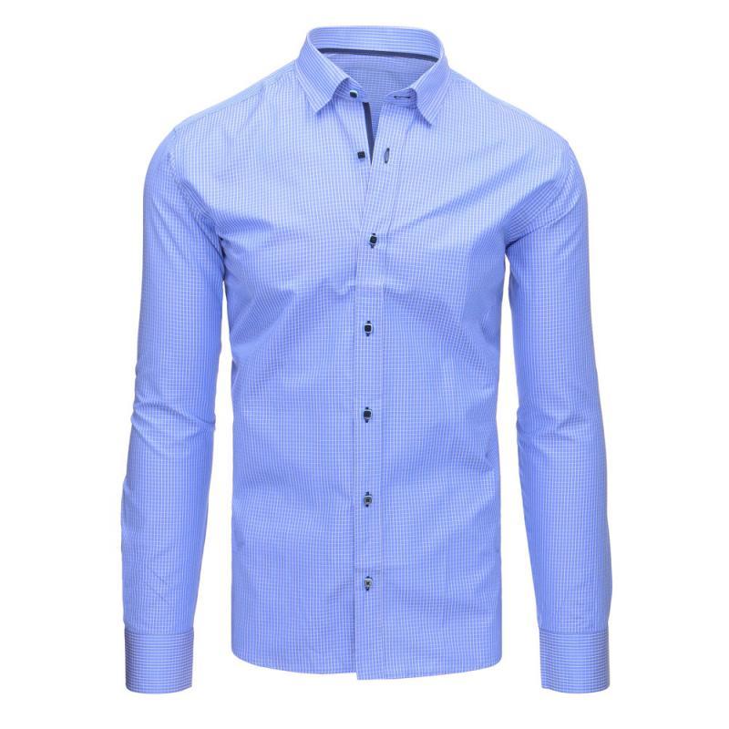 86df36b56605 Nebesky modrá pánska košeľa kockovaná s dlhým rukávom