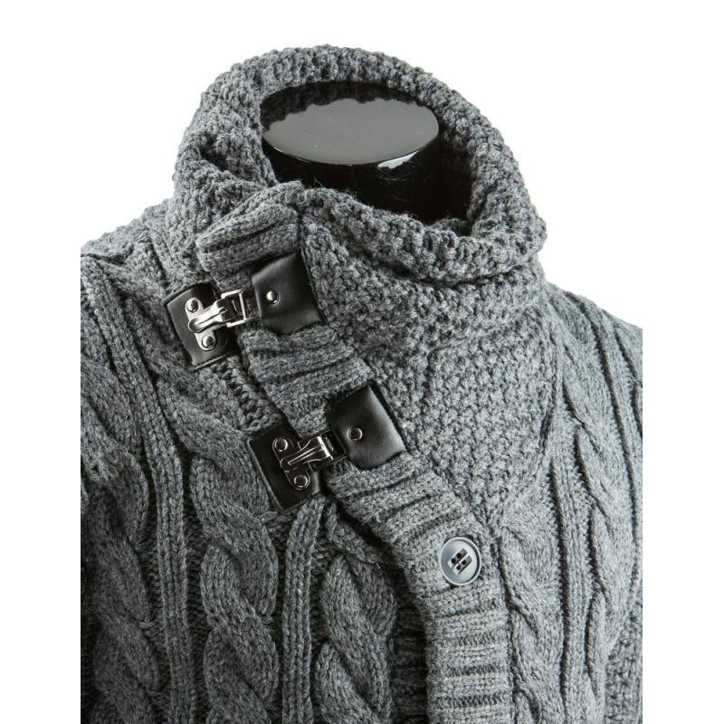 3a562e3f51f7 Pánsky štýlový sveter do v na gombíky antracitový