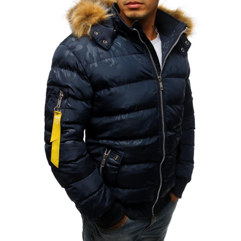 Pánska zimná bunda prešívaná modrá  2fb03db98a4