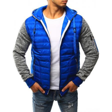 Pánska bunda prešívaná s kapucňou svetle modrá