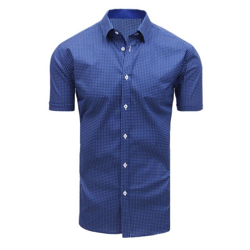 45c0865dd014 Elegantná pánska košeľa so vzorom s krátkym rukávom tmavo modrá ...