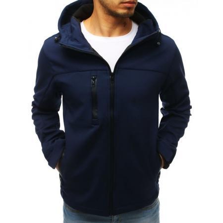 Pánska bunda softshell s kapucňou tmavo modrá