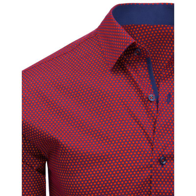 477d3f1a2718 Červená vzorovaná pánska košeľa s dlhým rukávom