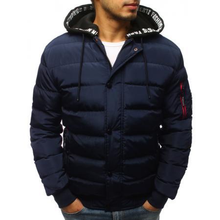 Pánska zimná bunda prešívaná tmavo modrá