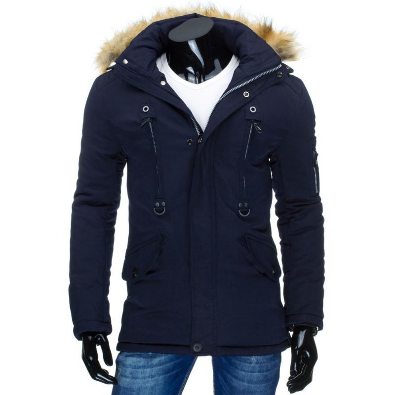 7205cbe7f746 Pánska štýlová zimná bunda (parka) modrá
