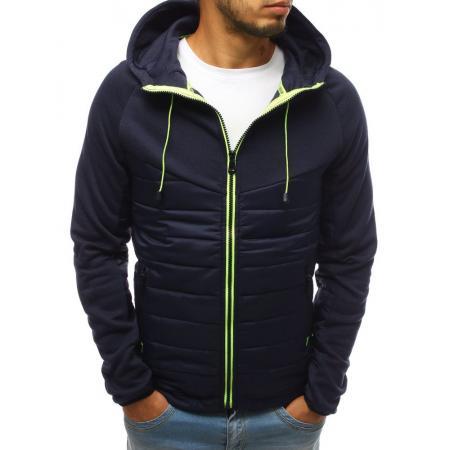 Pánska bunda prechodová jesenná / jarná prešívaná tmavo modrá