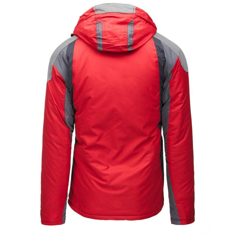 Pánska bunda zimné lyžiarska s kapucňou červená  4abf5e1667a