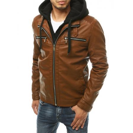 Pánska bunda kožená s kapucňou hnedá tx3395