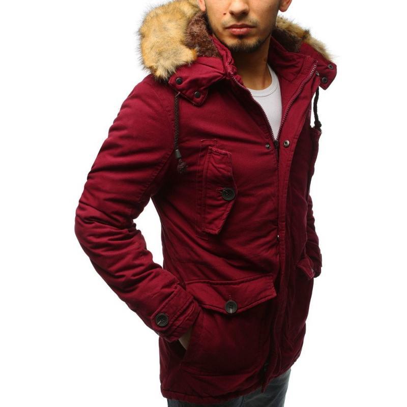 Pánska zimná bunda parka červená  c54c7bedb1b