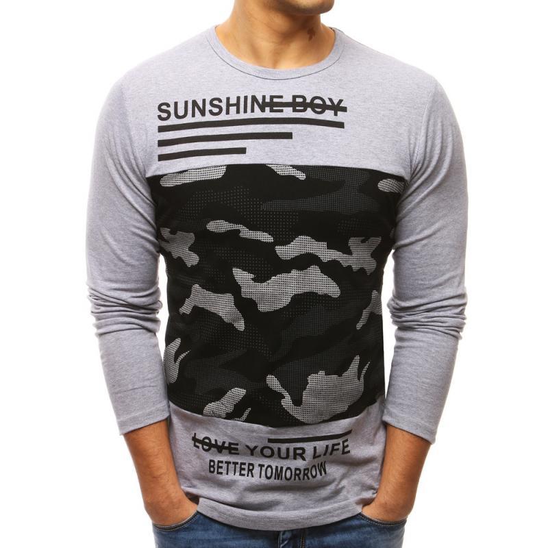 4e1f6b3609e5 Pánske šedé tričko s dlhým rukávom