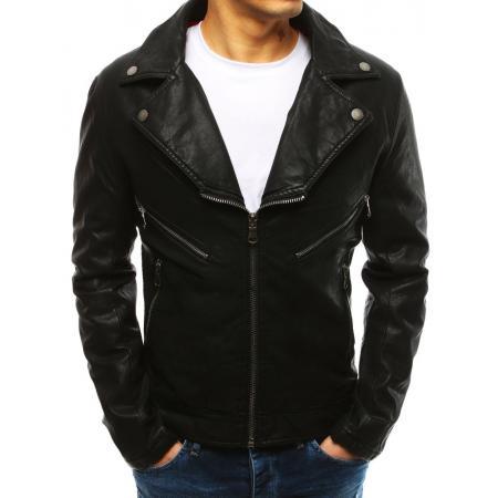 Pánska bunda koženka čierna