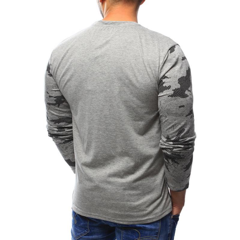 b6dedd23b621 Pánske tričko STYLE s dlhým rukávom s potlačou šedej