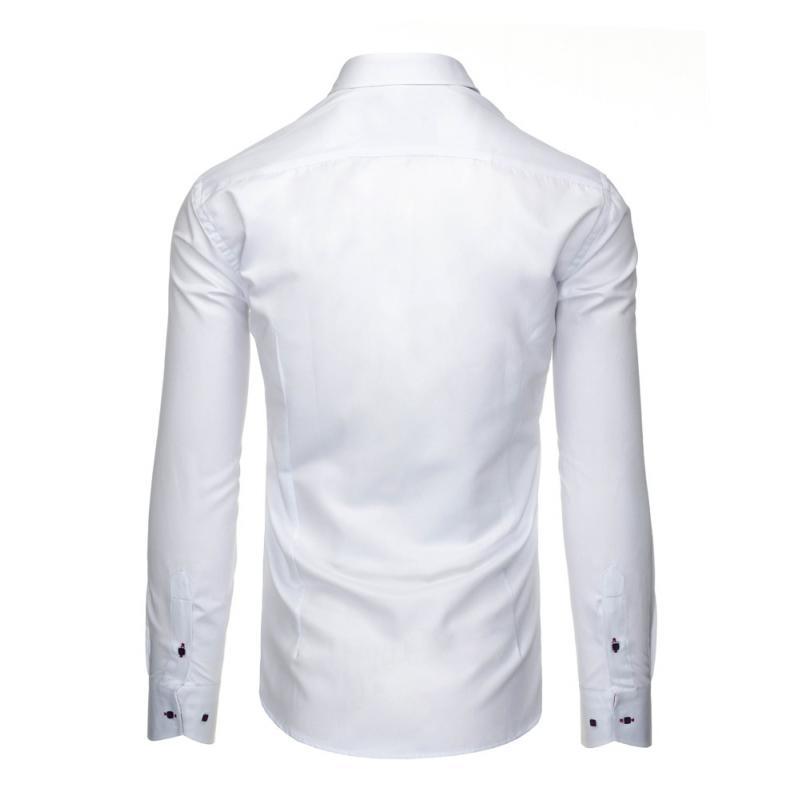 2e87ece78041 Pánska štýlová košeľa biela s dlhým rukávom slim fit