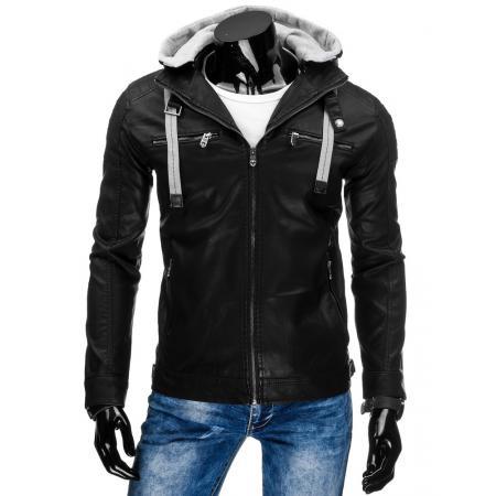 Pánska bunda kožená čierna