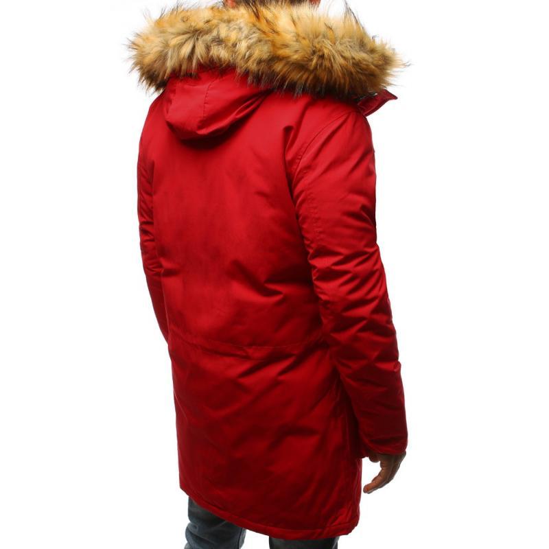 Pánska zimná parka bunda červená  cb453795e28