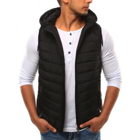 Pánska vesta s kapucňou čierna