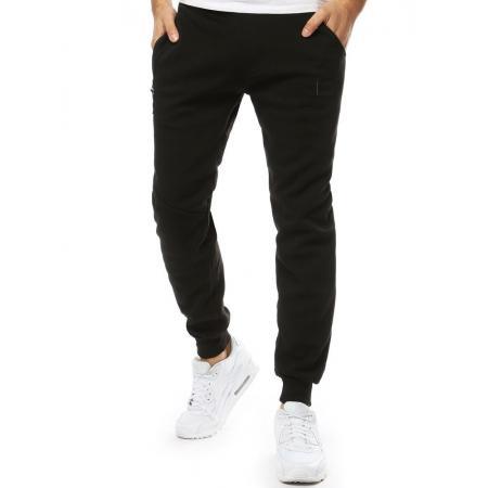 Pánske nohavice tepláky zateplené čierne