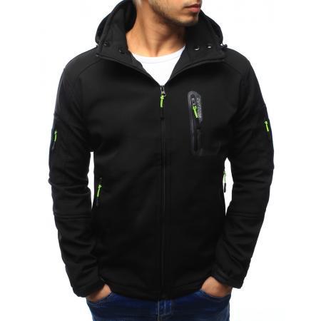 Pánska bunda softshell s kapucňou čierna