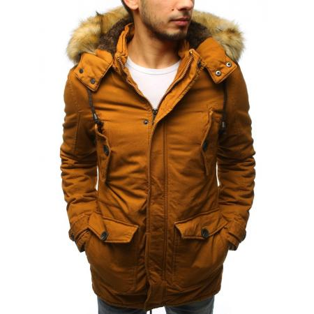 Pánska zimná bunda parka svetlo hnedá