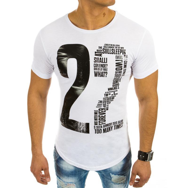 b55077468061 Pánská bílé tričko s potlačou a okrúhlym výstrihom
