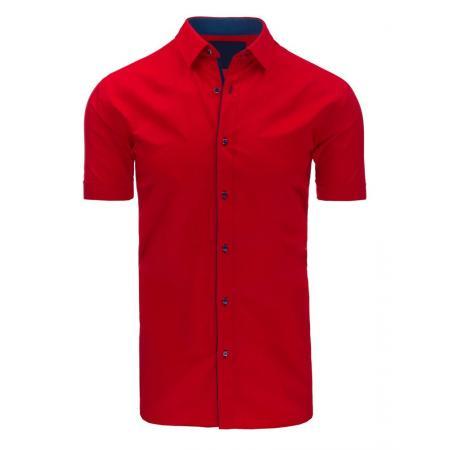 Pánska košeľa elegantný s krátkym rukávom červená