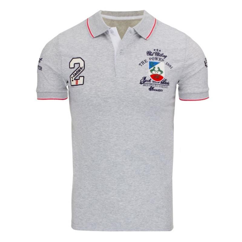 68c7fa329d1c Pánske polo tričko s krátkym rukávom šedé