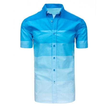 0f416a1a4835 Panská košele pruhovaná s krátkym rukávom svetlo modrá