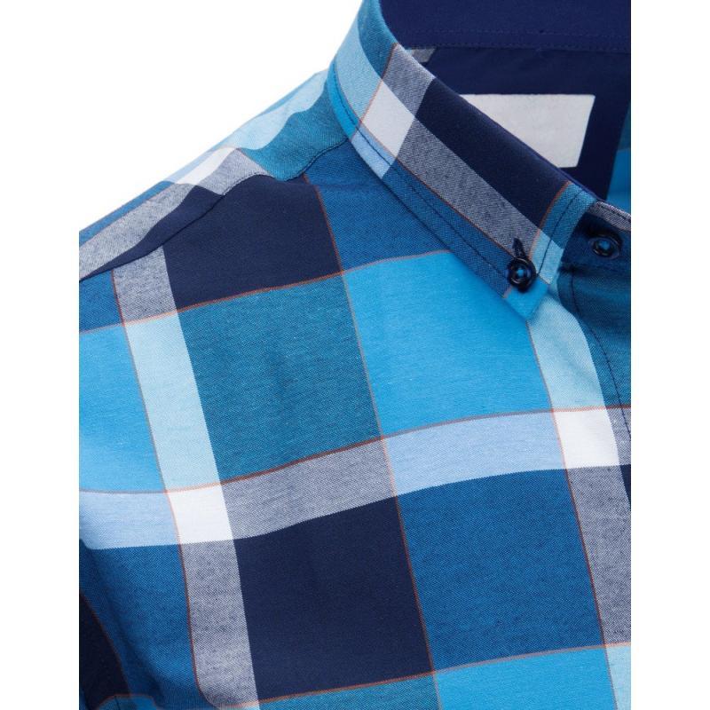 e3d834d842a8 Pánska STYLE košeľa pruhovaná tyrkysová-tmavo modrá