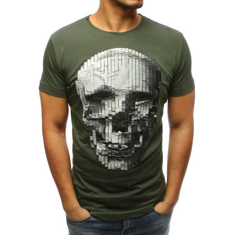 d3daaaf5674a Pánske štýlové tričko s lebkou tmavo zelený
