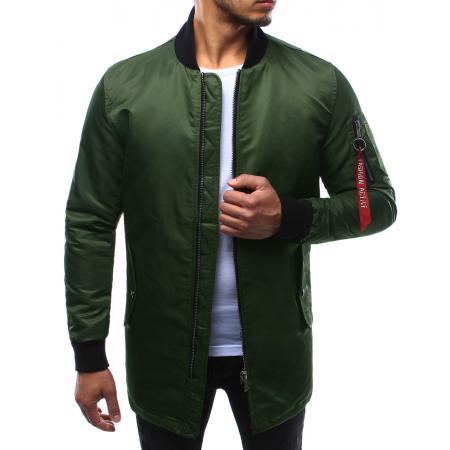 Pánska bunda predĺžená zelená