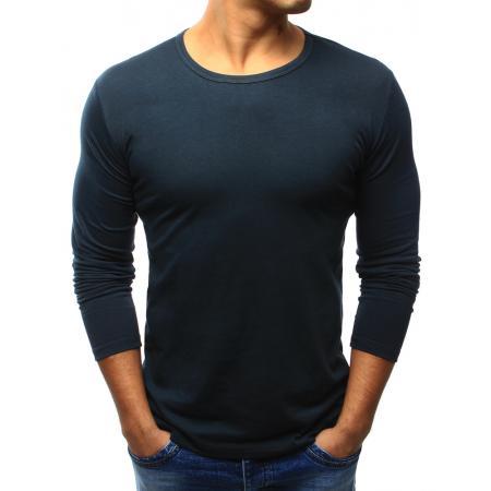 Pánske tričko STYLE s dlhým rukávom tmavo modré