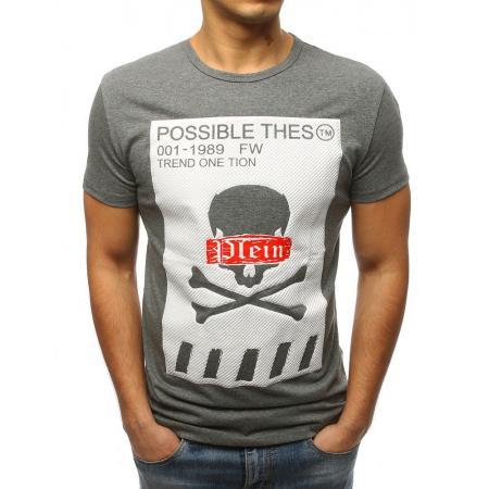 Pánske štýlové tričko s lebkou antracit a52bd7fa9a4