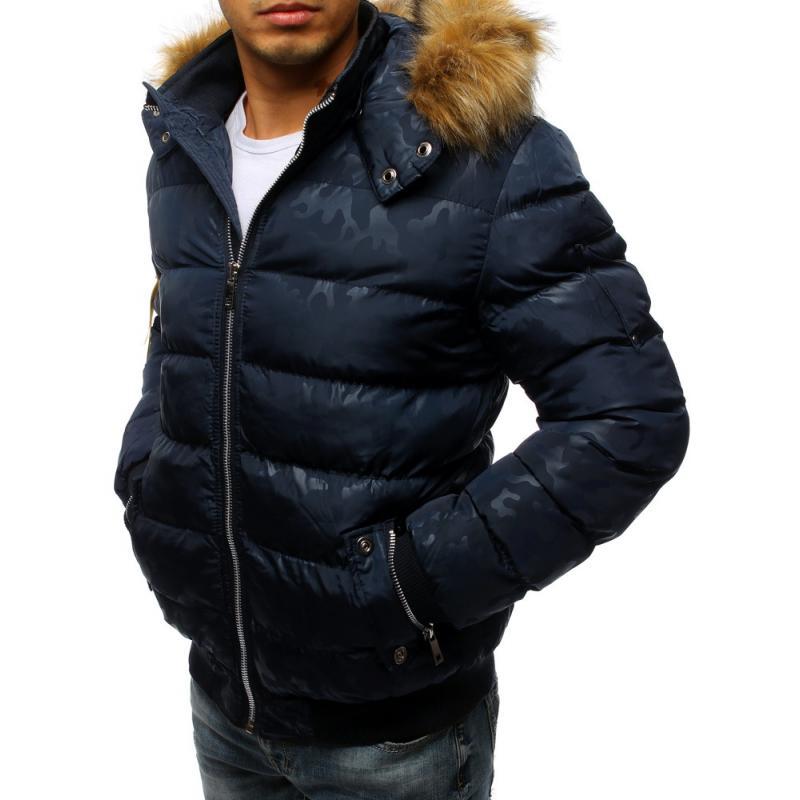 Pánska zimná bunda prešívaná modrá  f9d07d3cae7