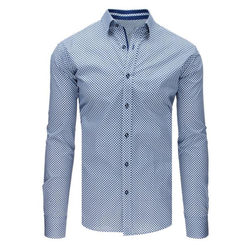 f79f0d44bb62 Pánska ELEGANT košeľa bielo-modré vzory