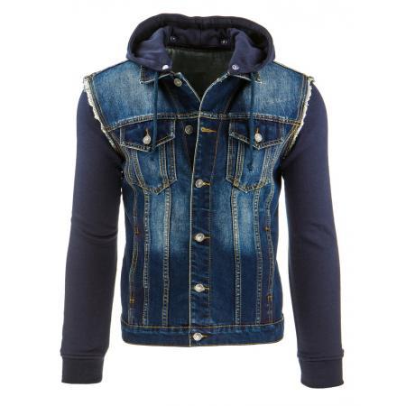 Pánska štýlová jeansová (džínsová) bunda s kapucňou