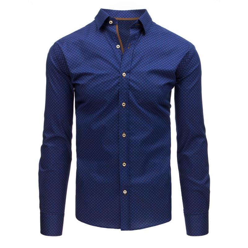f607f62fd2e2 Pánska STYLE košeľa elegantná sa vzormi tmavo modrá