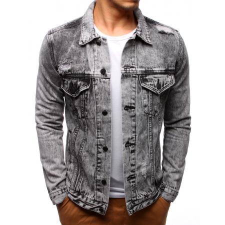 Pánska bunda džínsová sivá