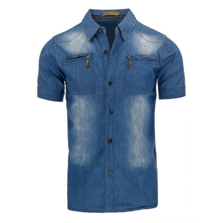 544d85286d86 Pánska košeľa jeansová s krátkym rukávom
