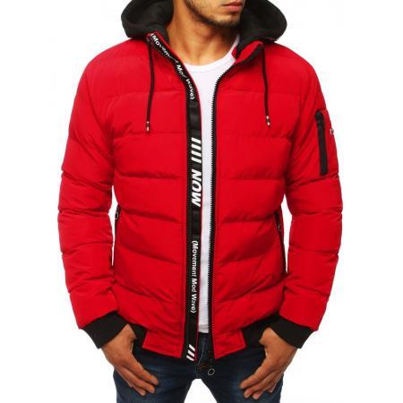 Pánska FALL / WINTER bunda bomber jacket prešívaná s kapucňou červená