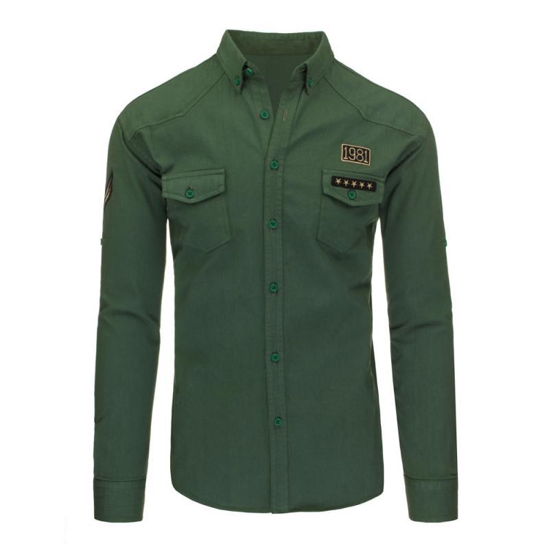 e6c6d2eac768 Pánska štýlová košeľa zelená