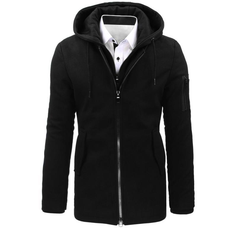 Čierny pánsky zimný kabát  2c2f8c82c01