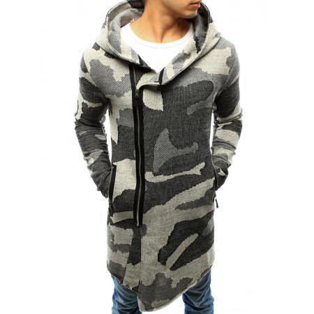 1ad74750c059 Pánsky sveter rozopínajúce s kapucňou maskáčový šedý