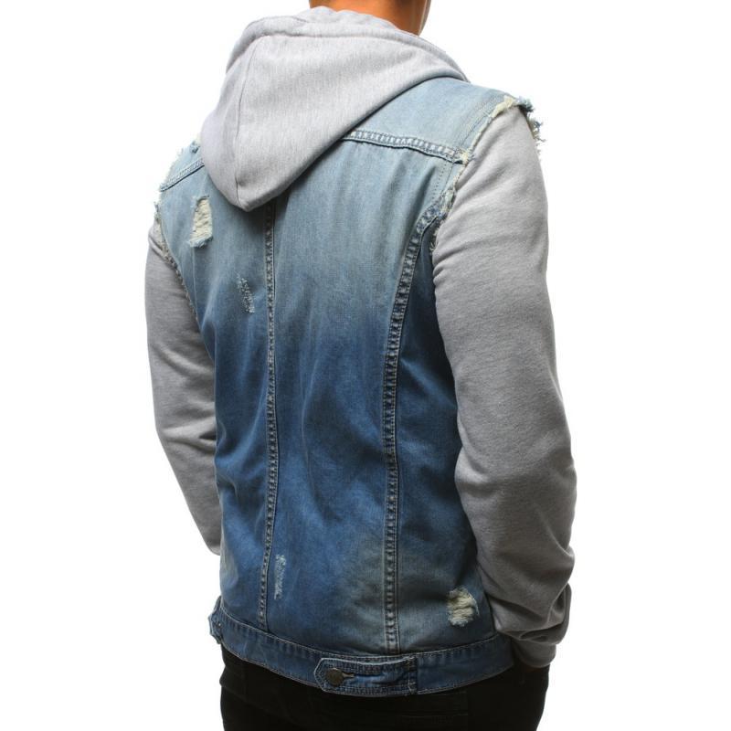 Pánska denimová bunda modrá  6fe5cab86d