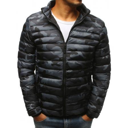 Pánska prešívaná šedá zimná camo bunda