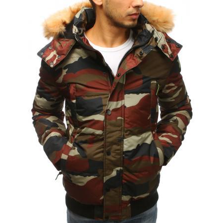 Pánska zimná bunda s kapucňou woodland maskáčová