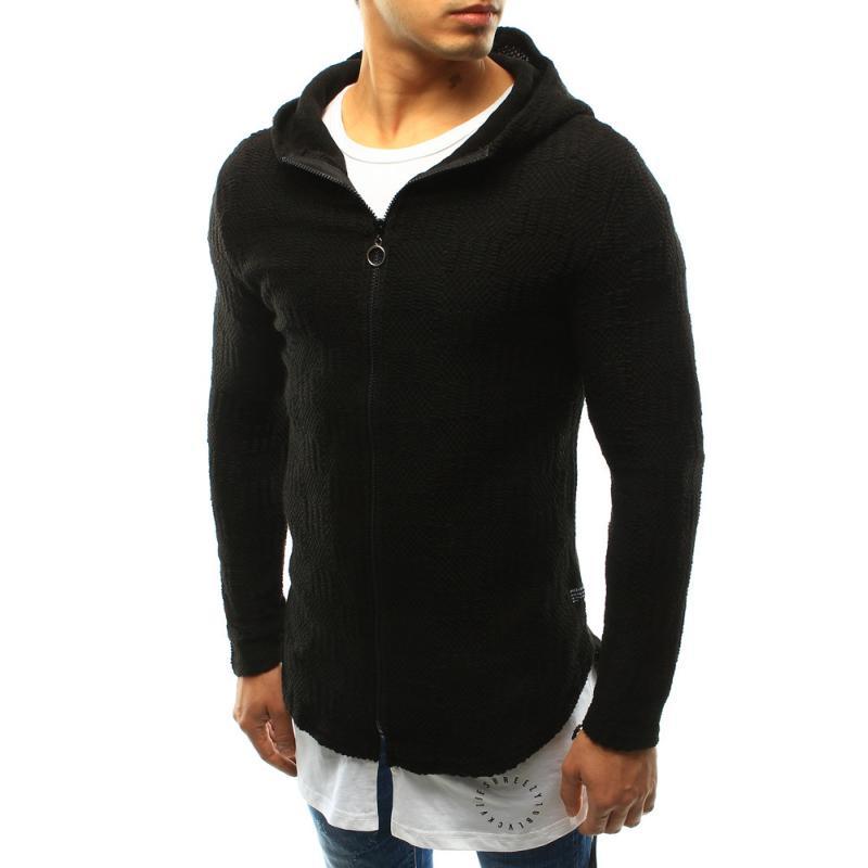 7ad91c3cc0ae Pánsky sveter rozopínajúce s kapucňou čierny