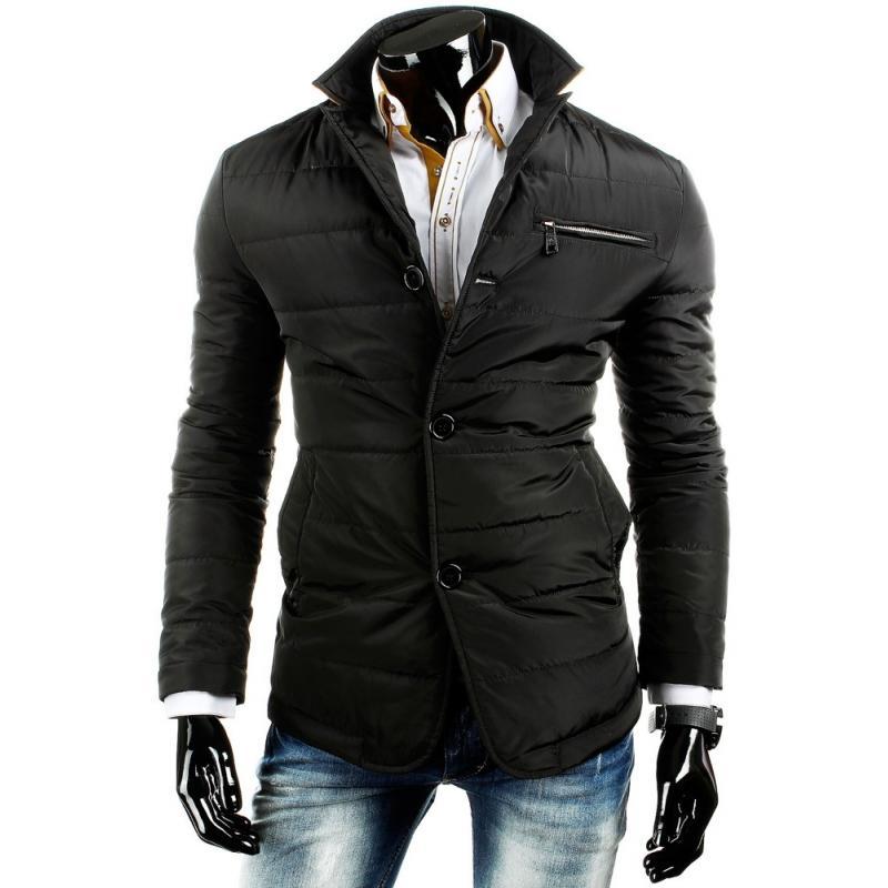 Štýlová ľahko oteplená pánska prešívaná bunda čierna  aaa23a43fce