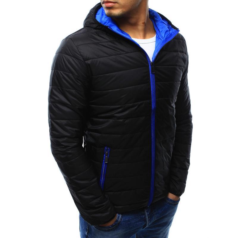 Pánska štýlová prešívaná bunda s kapucňou čierna  00bd2b531b4
