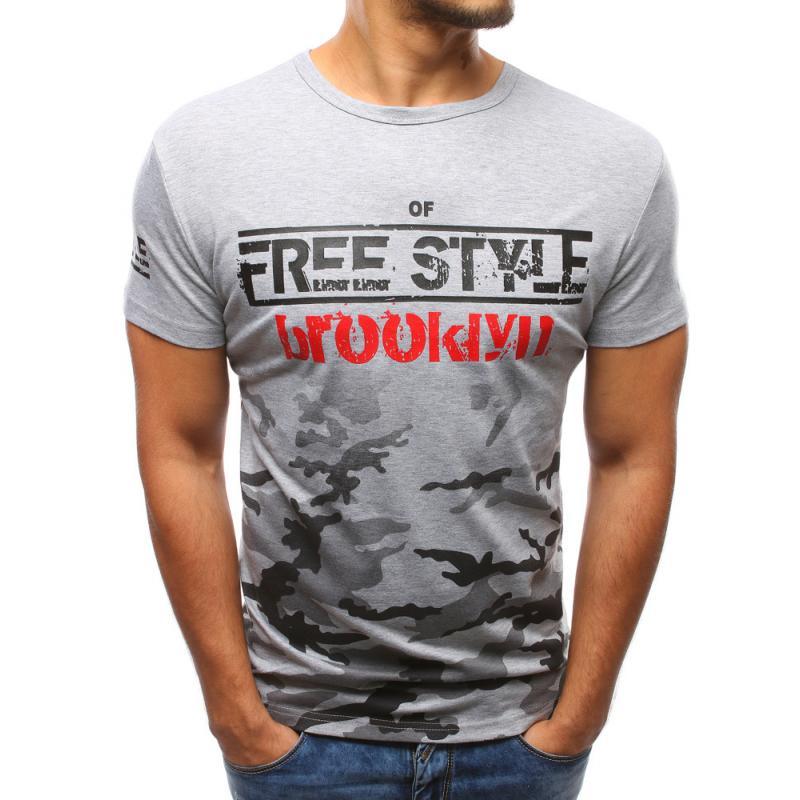 349038092 Pánske šedé tričko s potlačou STYLE | manSTYLE.sk